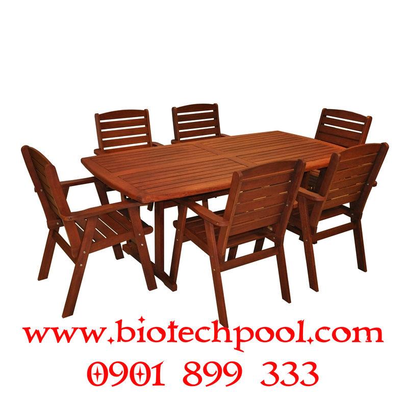 BỘ BÀN GHẾ GỖ SÂN VƯỜN BP025, máy lọc hồ bơi, thiết kế hồ bơi, thi công hồ bơi, bán bàn ghế hồ bơi ngoài trời, bán bàn ghế gỗ sân vườn